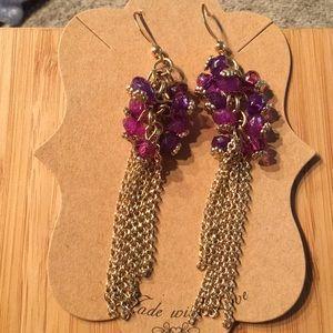 Gold tone, pink & purple chandelier chain earrings
